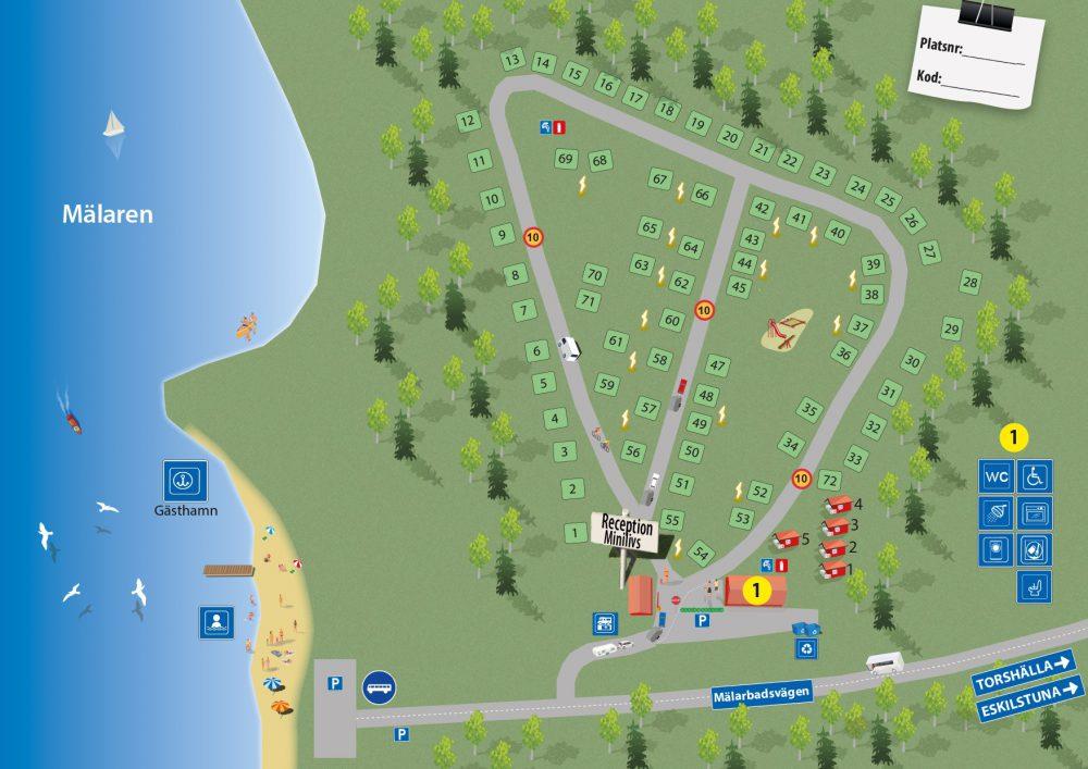 Karta över Mälarbadens camping